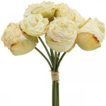 Kunstige roser, silkeblomster, rosenknippe flødehvid L23cm 8stk