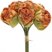 Rosebund, silkeblomster, kunstige roser orange, antikt look L23cm 8stk