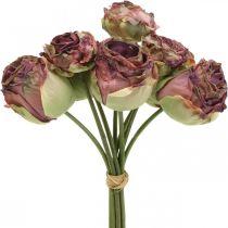 Roser antikrosa, silkeblomster, kunstige blomster L23cm 8stk
