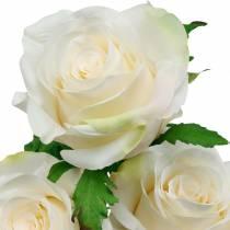 Hvid rose på en stilk, silkeblomst, kunstig rose 3stk