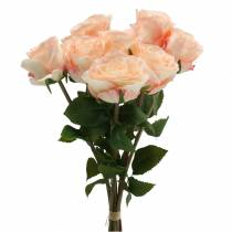 Kunstig rosenbuket abrikos 8stk