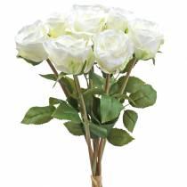 Dekorative rosen silke blomster i en flok fløde 36cm 8stk