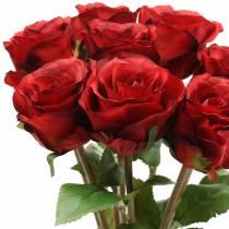 Rose i en flok kunstig rød 36cm 8stk