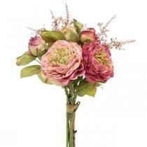 Roser silkeblomster i en flok efterårsbuket pink, violet H36cm