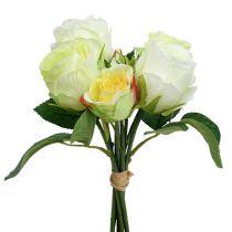 Bunch med roser hvidgrøn Ø15cm L25cm