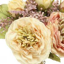 Roser kunstige blomster i en flok efterårsbuketcreme, lyserød H36cm