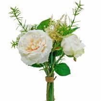 Buket kunstige roser. Creme silkeblomster i en buket