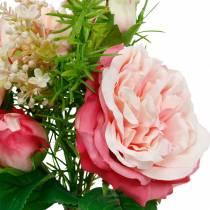 Buket kunstige roser i en flok lyserøde silkeblomsterbuket