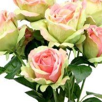 Rose bush kunstig grøn, pink 55cm