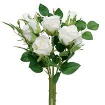 Buket med hvide roser L46cm