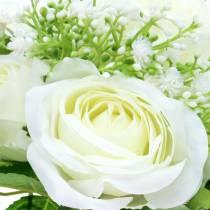 Buket med roser med gypsophila hvid 26cm