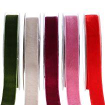 Fløjlsbånd forskellige farver 20mm 10m