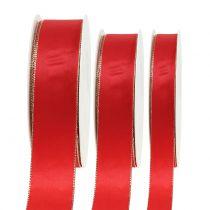 Satinbånd rød med guldkant 40m