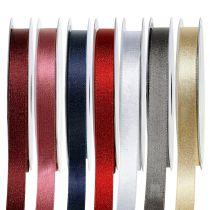 Satinbånd med glimmer 10 mm 20m