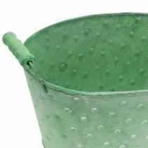 Dekorativ skål planter metalgrøn oval 25,5x18,5 cm H13cm