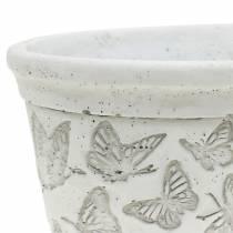 Plante pot skål hvid med sommerfugle 17cm x 12cm H8cm 2stk
