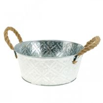 Dekorativ skål sølv med håndtag metalplanterskål planter Ø21cm