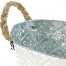 Dekorativ skål ovalt sølv med håndtag metalskål 22,5 × 13,5 cm