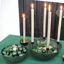 Dekorativ skål metalgrøn borddekoration Vintage Ø21cm