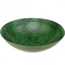 Dekorativ skål stor metalgrøn vintage borddekoration Ø42cm