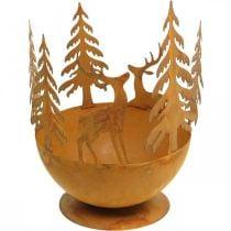 Metalskål med rådyr, skovdekoration til advent, dekorativt kar rustfrit stål Ø25cm H29cm