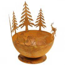 Dekorativ skål med juleslæde, adventsdekoration, metalbeholder, rist i rustfrit stål Ø25cm H32,5cm