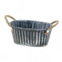 Metalplantskål, blomsterskål til plantning, dekorativ skål med håndtag L22.5cm