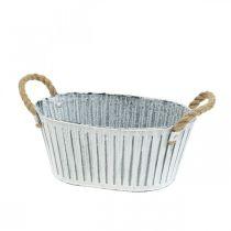 Planter med håndtag, blomsterskål af metal, dekorativ skål til plantning L28cm