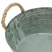 Zinkskål, snoet mønster med rebhåndtag, vasket hvid Ø21cm H11cm
