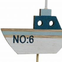 Dekorative stik skib træ hvidblå naturlig 8cm H37cm 24stk