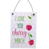 """Skilt til hængende """"kirsebær"""" 17cm x 12cm 4stk"""