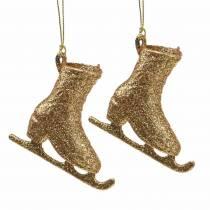 Juletrædekorationer skøjteløb guld, glitter 8cm 12stk