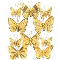 Spring sommerfugl med klip gylden fjeder dekoration 6cm 10stk i et sæt