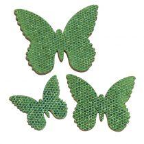 Sprededekoration sommerfuglgrøn glitter 5/4 / 3 cm 24stk
