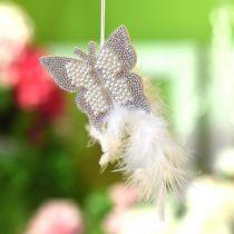 Filt sommerfugl til ophængning af creme bryllupsdekoration 16 cm