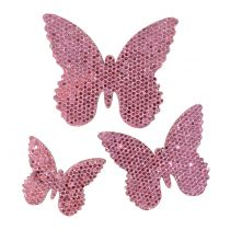 Sprededekoration sommerfugl pink-glitter 5/4 / 3 cm 24stk