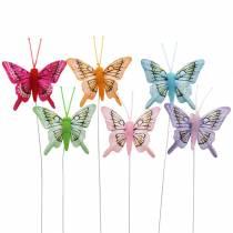 Dekorativ sommerfugl med tråd 5cm 24stk sorteret
