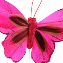 Fjer sommerfugl med tråd 7cm lyserød lilla 24stk