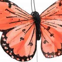 Fjer sommerfugl med trådfarve laks og lilla 10 cm 12 stk