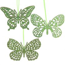Dekorativt hængende sommerfuglgrøn glitter 8cm 12stk