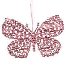 Dekorativt hængende sommerfuglrosa glitter 10cm 6stk