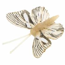 Dekorativ sommerfugl med metalklips natur assorteret H4,9cm / 5,8cm / 7,4cm 6stk