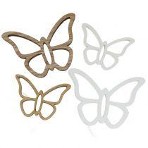 Træ sommerfugl hvid / naturlig 3 cm - 4,5 cm 48p