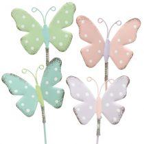 Blomsterstop sommerfugl pastel 24cm 12stk