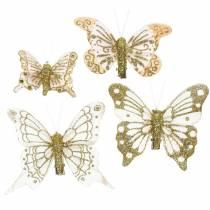 Fjer sommerfugl på klip guld glitter 10stk
