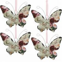 Sommerfugl til at hænge metal dekorationsbøjle 7cm forårsdekoration 12stk