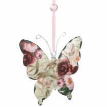 Sommerfugl til at hænge metal dekorationsbøjle 9cm forårsdekoration 6stk