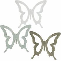 Sommerfugl at drysse 4 cm brun, lysegrå, hvid Sommer dryssende træ dekoration 72stk