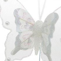 Sommerfugle med perler og glimmer, bryllupsdekorationer, fjerfugle på hvid tråd