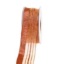 Smykkebånd med lurex strimler kobber 40mm 20m